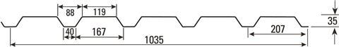 Alu Trapezblech W 35/207-70  - 25µm  Polyester
